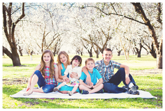 almond blossoms portrait family manteca web
